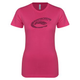Next Level Ladies SoftStyle Junior Fitted Fuchsia Tee-C Eagle Hot Pink Glitter