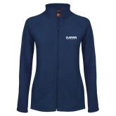 Ladies Fleece Full Zip Navy Jacket-Clarion University