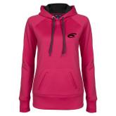 Ladies Pink Raspberry Tech Fleece Hoodie-C Eagle