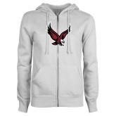 ENZA Ladies White Fleece Full Zip Hoodie-Eagle