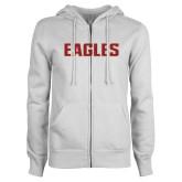 ENZA Ladies White Fleece Full Zip Hoodie-Eagles Wordmark