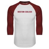 White/Cardinal Raglan Baseball T Shirt-Wordmark