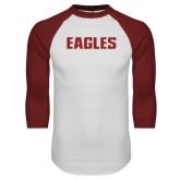 White/Cardinal Raglan Baseball T Shirt-Eagles Wordmark