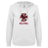 ENZA Ladies White V Notch Raw Edge Fleece Hoodie-Volleyball
