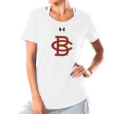 Ladies Under Armour White Charged Cotton Tee-Vintage Interlocking BC