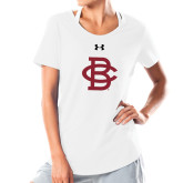 Ladies Under Armour White Charged Cotton Tee-Vintage Interlocking BC - One Color