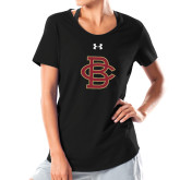 Ladies Under Armour Black Charged Cotton Tee-Vintage Interlocking BC