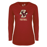 Ladies Syntrel Performance Cardinal Longsleeve Shirt-Football