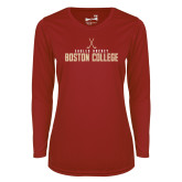 Ladies Syntrel Performance Cardinal Longsleeve Shirt-Hockey Crossed Sticks