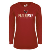 Ladies Syntrel Performance Cardinal Longsleeve Shirt-Hockey Ice Texture