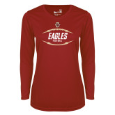Ladies Syntrel Performance Cardinal Longsleeve Shirt-Lightning Football