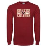 Cardinal Long Sleeve T Shirt-Block Distressed