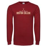 Cardinal Long Sleeve T Shirt-Hockey Crossed Sticks