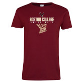 Ladies Cardinal T Shirt-Basketball Net