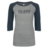 ENZA Ladies Athletic Heather/Navy Vintage Baseball Tee-Clark Athletics Graphite Glitter