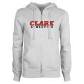 ENZA Ladies White Fleece Full Zip Hoodie-Clark Athletics
