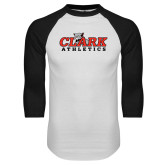 White/Black Raglan Baseball T Shirt-Primary Logo