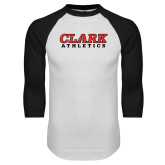 White/Black Raglan Baseball T Shirt-Clark Athletics