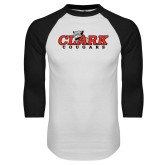 White/Black Raglan Baseball T Shirt-Secondary Logo