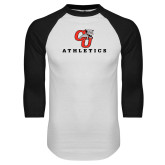White/Black Raglan Baseball T Shirt-CU Athletics Logo