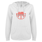 ENZA Ladies White V Notch Raw Edge Fleece Hoodie-Clark Cougars Basketball Stacked