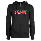 ENZA Ladies Black Fleece Full Zip Hoodie-Clark Athletics
