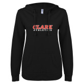 ENZA Ladies Black V Notch Raw Edge Fleece Hoodie-Clark Athletics