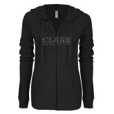 ENZA Ladies Black Light Weight Fleece Full Zip Hoodie-Clark Athletics Graphite Glitter