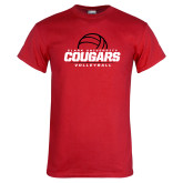 Red T Shirt-Cougars Volleyball Stacked