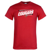 Red T Shirt-Slanted Cougars Stencil