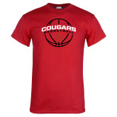 Red T Shirt-Cougars Basketball Arched Ball