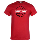Red T Shirt-Cougars Basketball Lined Ball