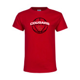 Youth Red T Shirt-Cougars Basketball Arched Ball