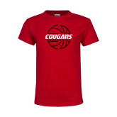 Youth Red T Shirt-Cougars Basketball Lined Ball
