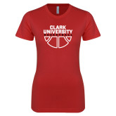 Next Level Ladies SoftStyle Junior Fitted Red Tee-Clark Cougars Basketball Stacked