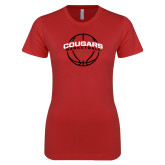 Next Level Ladies SoftStyle Junior Fitted Red Tee-Cougars Basketball Arched Ball