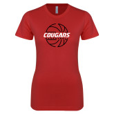 Next Level Ladies SoftStyle Junior Fitted Red Tee-Cougars Basketball Lined Ball