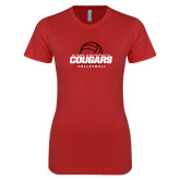 Next Level Ladies SoftStyle Junior Fitted Red Tee-Cougars Volleyball Stacked