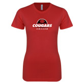 Next Level Ladies SoftStyle Junior Fitted Red Tee-Cougars Soccer Half Ball