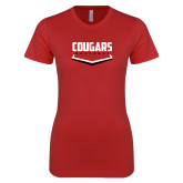 Next Level Ladies SoftStyle Junior Fitted Red Tee-Cougars Baseball Plate