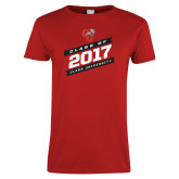 Ladies Red T Shirt-Class Of - Slanted Banners, Personalized Year
