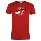 Ladies Red T Shirt-CU Family Weekend