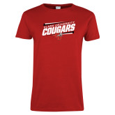 Ladies Red T Shirt-Slanted Cougars Stencil