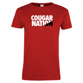 Ladies Red T Shirt-Cougar Nation