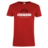 Ladies Red T Shirt-Cougars Volleyball Stacked