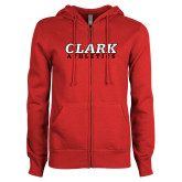 ENZA Ladies Red Fleece Full Zip Hoodie-Clark Athletics