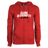 ENZA Ladies Red Fleece Full Zip Hoodie-Clark University Alumni Stacked