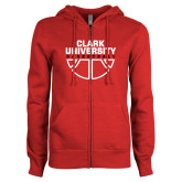 ENZA Ladies Red Fleece Full Zip Hoodie-Clark Cougars Basketball Stacked