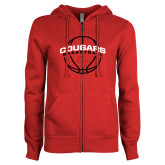 ENZA Ladies Red Fleece Full Zip Hoodie-Cougars Basketball Arched Ball