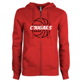 ENZA Ladies Red Fleece Full Zip Hoodie-Cougars Basketball Lined Ball